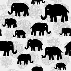 Vector floral and elephants seamless wallpaper background pattern design. Can be used for textile, website background, book cover, packaging.