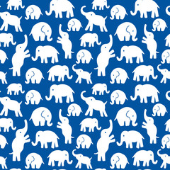 Seamless vector pattern with elephants. Texture for wallpaper, fills, web page background.