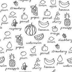 Fruit doodles seamless vector pattern. Can be used for textile, website background, book cover, packaging.