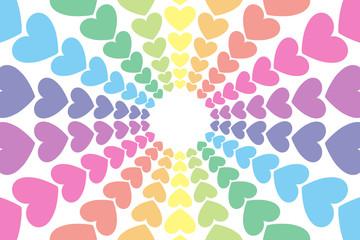 背景素材,ハートマーク,模様,パターン,かわいい,カラフル,虹,レインボーカラー,ハッピー,イメージ