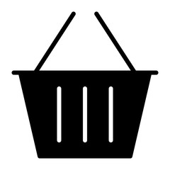 Shopping Basket Pixel Perfect Vector Silhouette Icon 48x48. Simple Minimal Pictogram