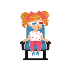 Sweet little girl in 3d glasses sitting on a blue chair and watching 3D movie in the cinema vector Illustration