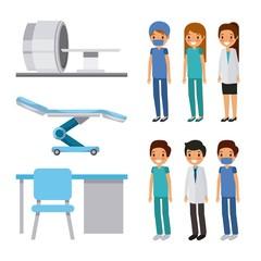 doctor medical people health care equipment furniture vector illustration