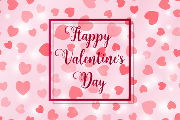 Happy Valentine's day illustration with flying hearts and lights