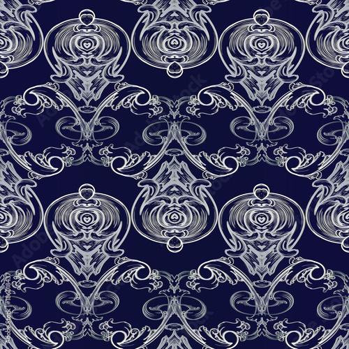 Baroque Vector Seamless Pattern Damask Dark Blue Floral Background Wallpaper Illustration With Vintage White Line