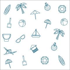 Beach icon set design