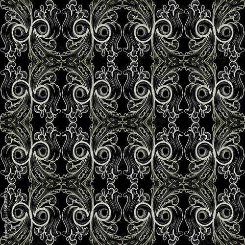 Baroque Vector Seamless Pattern Damask Black Floral Background Wallpaper Illustration With Vintage White Line Art