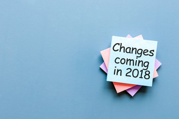 A note Changes coming in 2018. With empty space for text, mockup