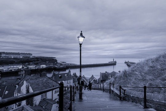 199 steps leading from Whitby Abbey to the harbour entrance, Yorkshire, England.