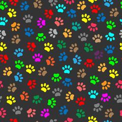 Colorful animal paw prints seamless pattern