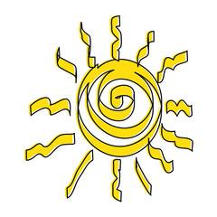 summer sun drawing icon