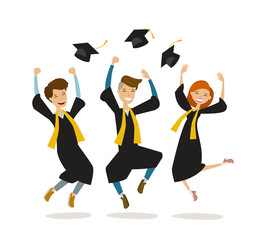 Happy graduates or students throw hats. Education, college, school, graduation concept. Cartoon vector illustration