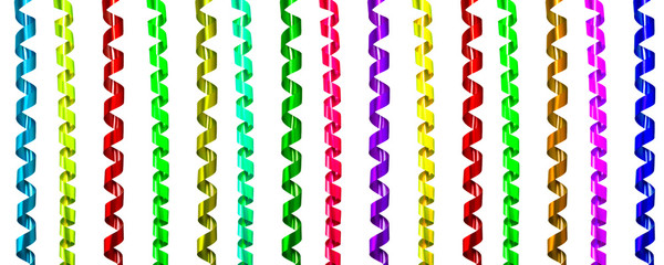 Set of colorful streamers ribbon for Decoration celebration or party.