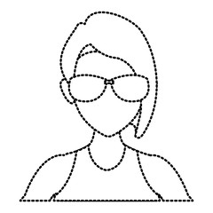 Woman face with sunglasses icon vector illustration graphic design