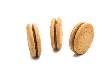 double biscuits with chocolate isolated