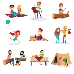 Summer time people activities on picnic, grill or barbecue, man and woman sitting by the fire, boy pitching a tent, girl running with kite. Vector character set.