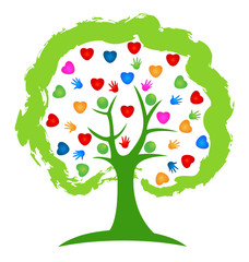 Tree hands and heart people icon vector design