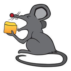 A gray cartoon mouse is eating a piece of cheese
