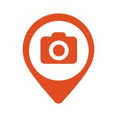 Photo Camera flat mapping pin icon