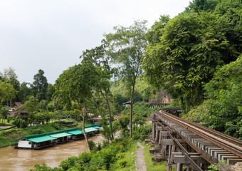 Landscape of Death Railway bridge over the Kwai Noi river at Tham Kasae station in Kanchanaburi - Thailand.