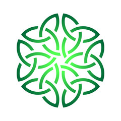 Celtic shamrock knot in circle. Symbol of Ireland
