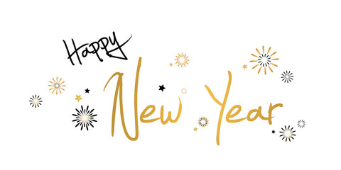 Happy New Year - vector background horizontal banner with fireworks ( christmas , holiday , eve )