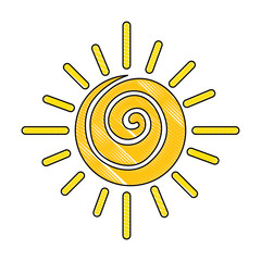 summer sun drawing icon