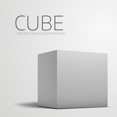 White box cube isolated on white background.