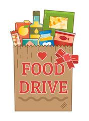 Food Drive charity movement logo vector illustration