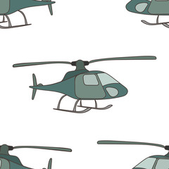 Helicopter vector seamless pattern isolated on white background. Helicopter takes off or sits down. Minimalist design, print in flat style. Copter, chopper sign.