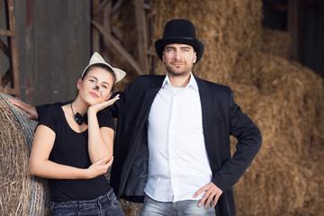 Halloween romance in a barn