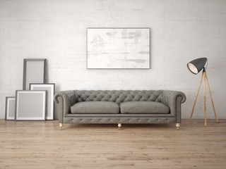 Mock up a fashionable living room with an antique sofa and a stylish floor lamp.