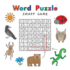 Funny Animals Word Puzzle Smart Game