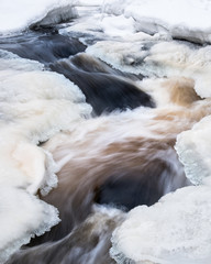 Close-up from river rapids at winter time in Finland