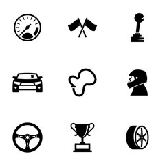 Set of simple icons on a theme Race, vector, design, collection, flat, sign, symbol,element, object, illustration, isolated. White background
