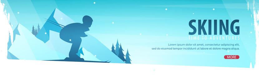 Winter Sport. Ski horizontal banner. Vector illustration.