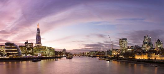 View from Tower Bridge on London Cityscape panorama at sunset