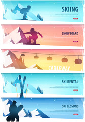 Winter Sport. Cableway. Ski Pass. Set of Ski horizontal banner. Vector illustration.