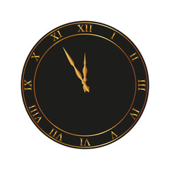 An ancient clock with roman numbers in editable vector format. New Year Concept Icon