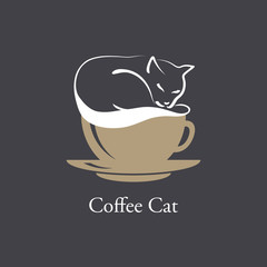 A silhouette of cat sleeping on coffee foam. Vector image