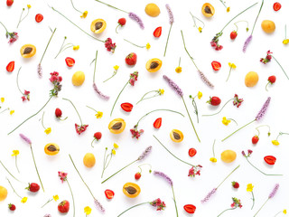 Fototapete - Composition from plants, wild flowers and red berries, isolated on white background. Strawberry,  apricots pattern, flat lay, top view. The concept of summer, spring, Mother's Day, March 8.