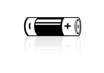 A horizontal battery icon with reflection, black and white: Vector illustration