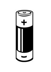 A black and white battery icon. Vector Illustration