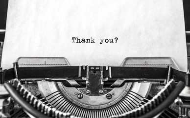 Thank you word typed on a Vintage Typewriter.
