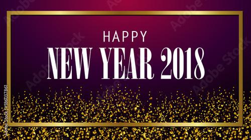 new year 2018 shine glam design firework gold sparkle dust vector banner graphic