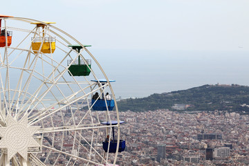 The observing wheel in Tibidabo Amusement Park, Barcelona