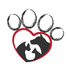 Group of dog pets inside a paw icon