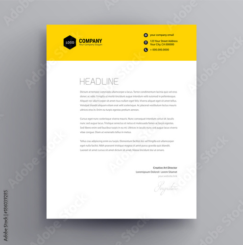 Letterhead design template and mockup minimalist style vector letterhead design template and mockup minimalist style vector yellow color spiritdancerdesigns Image collections