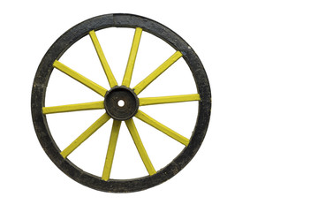 Old fashioned yellow wheel, isolated on white background.