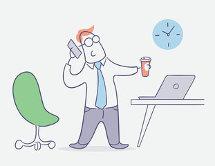 flat line character vector design - businessman talking on phone in office